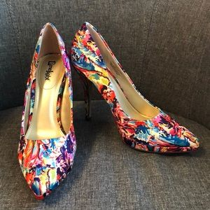 Multi color floral heels